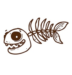 Hand Drawn Fish Skeleton vector image
