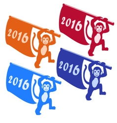 Happy new year 2016 silhouette of monkey with flag vector