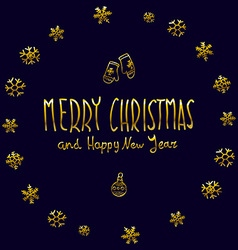 Golden glowing merry christmas and happy new year vector