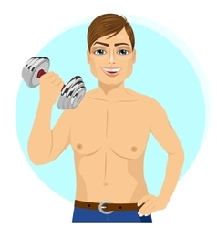 Active handsome young man with dumbbell vector