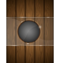 Wooden background with glass vector image