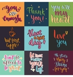 Hand drawn lettering posters collection vector