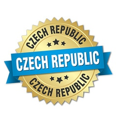 Czech republic round golden badge with blue ribbon vector