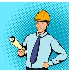 Architect worker concept comics style vector image vector image