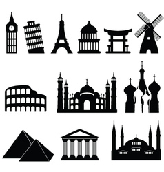 Around the world icons vector image vector image