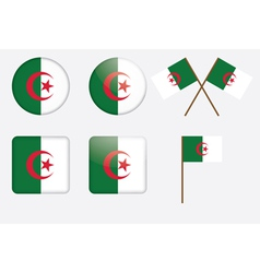 Badges with flag of algeria vector