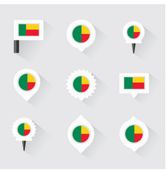 Benin flag and pins for infographic and map design vector