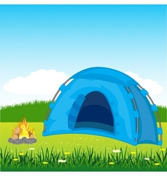 Blue tent on glade vector
