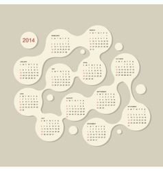 Calendar grid 2014 for your design vector image