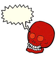 Cartoon skull with speech bubble vector