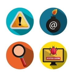 collection icon security computer design vector image