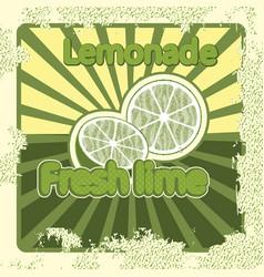 colorful vintage lemonade lime label poster vector image vector image