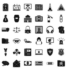 Computer crime icons set simple style vector