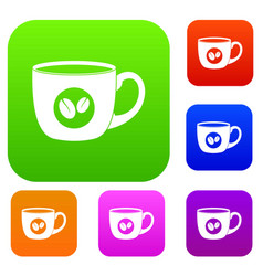 cup of coffee set color collection vector image