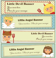 Design Set Kids Halloween Banners vector image vector image