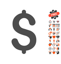 Dollar icon with love bonus vector