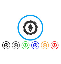 Ethereum stamp seal flat icon vector