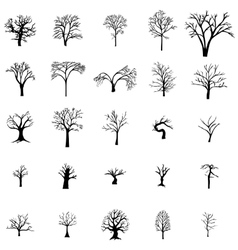 Fallen tree silhouette set vector