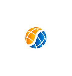 globe ecology technology round logo vector image