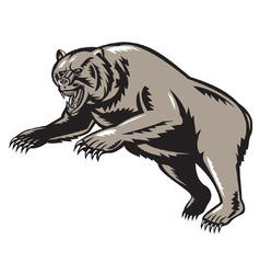 Grizzly bear attacking woodcut vector