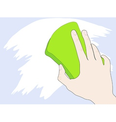 Hand with sponge vector image