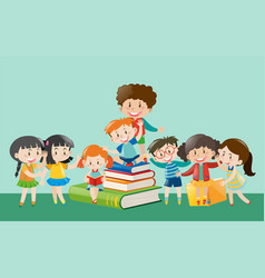 happy children with books vector image