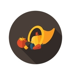 Harvest cornucopia flat icon with long shadow vector image