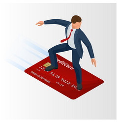 Isometric young businessman with surf credit card vector