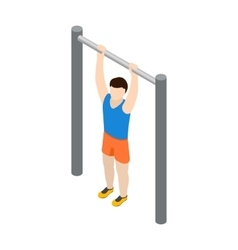 Man doing pull-up icon isometric 3d style vector image