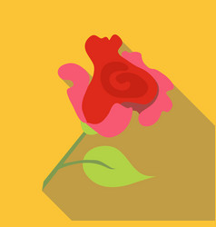 Pink rose icon flat style vector