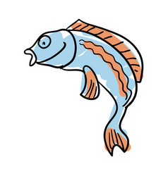 Sea fish hand drawn isolated icon vector
