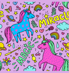 Seamless magic pattern with handdrawn unicorns and vector