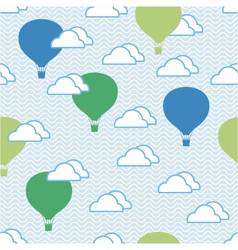 Seamless pattern of hot air balloons and clouds vector image vector image
