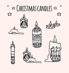 Set of hand-drawn doodle christmas candles for vector
