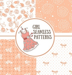 Set of hand-drawn girl patterns vector image vector image