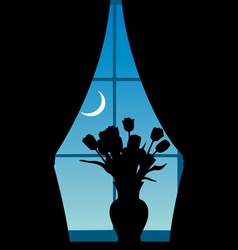 Vase with tulips at a window vector image vector image