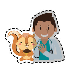 veterinarian with pet icon image vector image