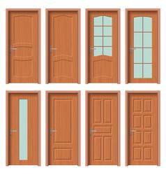 Wooden door set interior apartment closed door vector