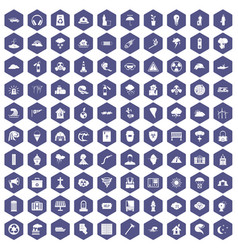 100 disaster icons hexagon purple vector