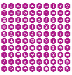 100 mill icons hexagon violet vector