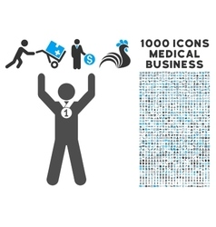 Winner Hands Up Icon with 1000 Medical Business vector image