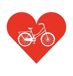 Bicycle vehicle style with heart isolated icon vector
