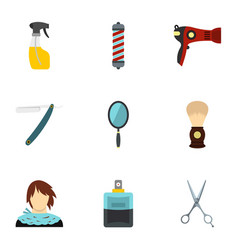 hairdressing salon icons set flat style vector image