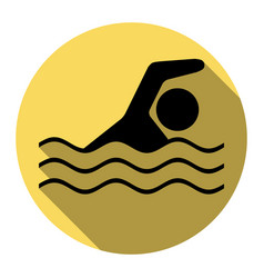 Swimming water sport sign  flat black icon vector