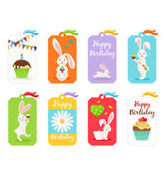Happy birthday cards and invitation tags vector