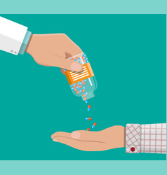 Hand of the pharmacist with pills and drugs vector