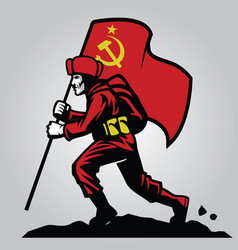 soviet union soldier carrying the flag vector image
