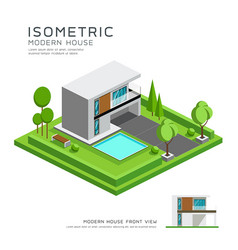 Modern home isometric with lawn vector