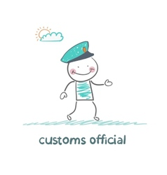 Customs officer goes to work vector