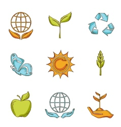 Ecology and waste icons set sketch vector
